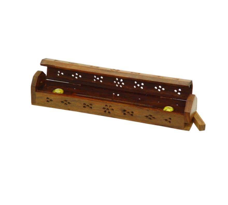 Wood Incense Storage Box Carved