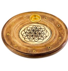 Wood Round Cone/Stick Holder Flower of Life