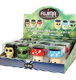 Fujima Ceramic Head Stash Jar Assorted 3oz