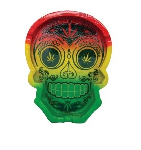 Rasta Sugar Skull Ashtray