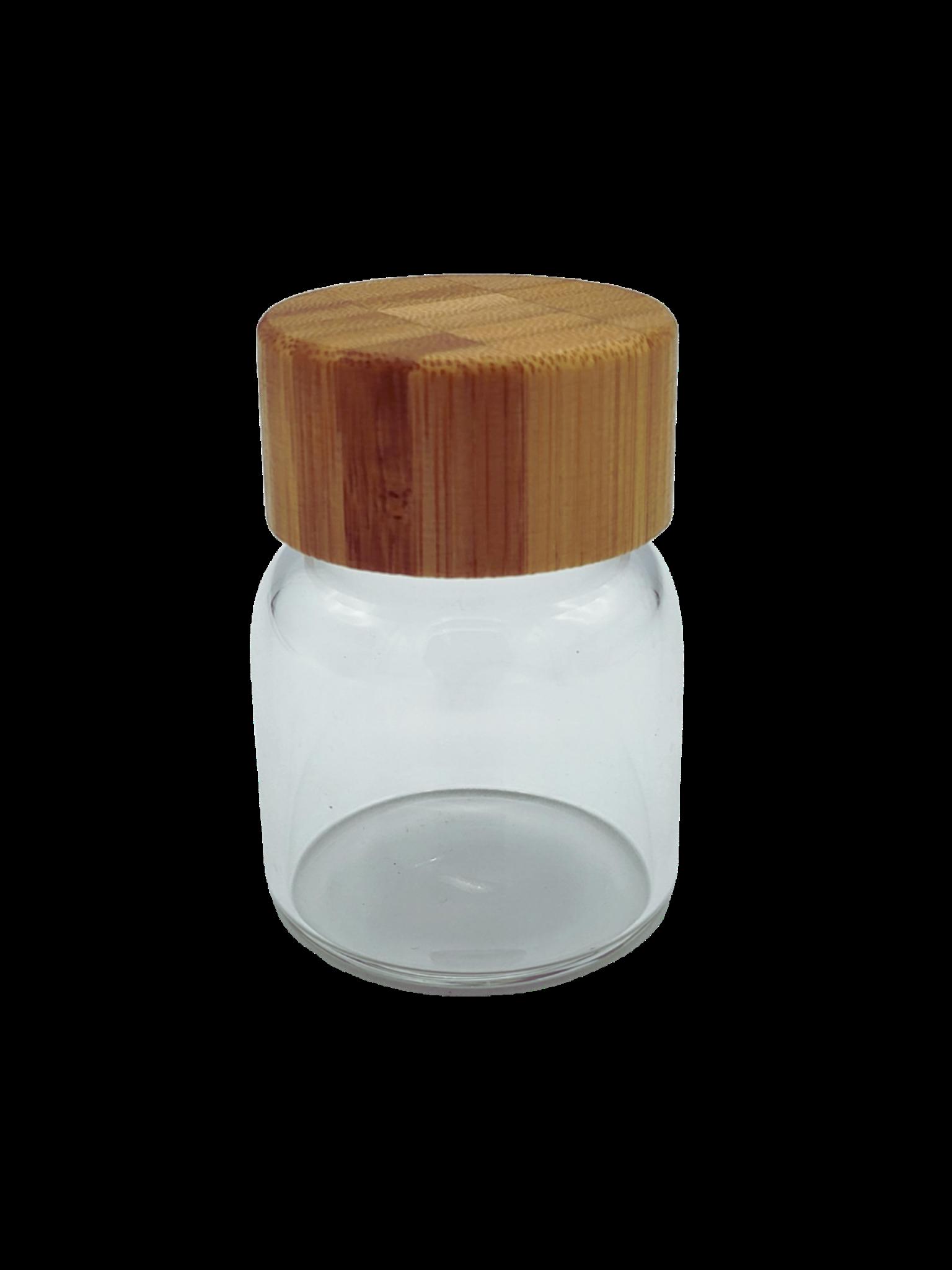 Bamboo Screw-Top Glass Jar Wide w/ Seal 80ml