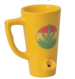 Ceramic Mug Pipe 8oz Yellow Hemp Leaf Tall