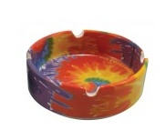 "3.35"" Tye Dye Ceramic Ashtray"