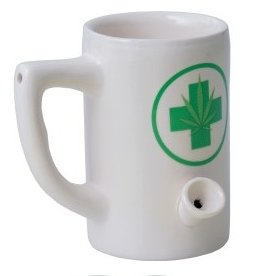 Ceramic Mug Pipe 8oz White Hemp Leaf Short