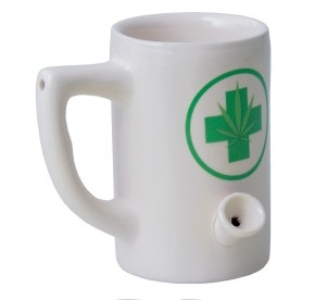 Ceramic Mug Pipe 8oz White Hemp Leaf Short