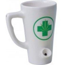 Ceramic Mug Pipe 8oz White Hemp Leaf Tall