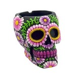 "Sugar Skull Ashtray 4"" Black/Purple"