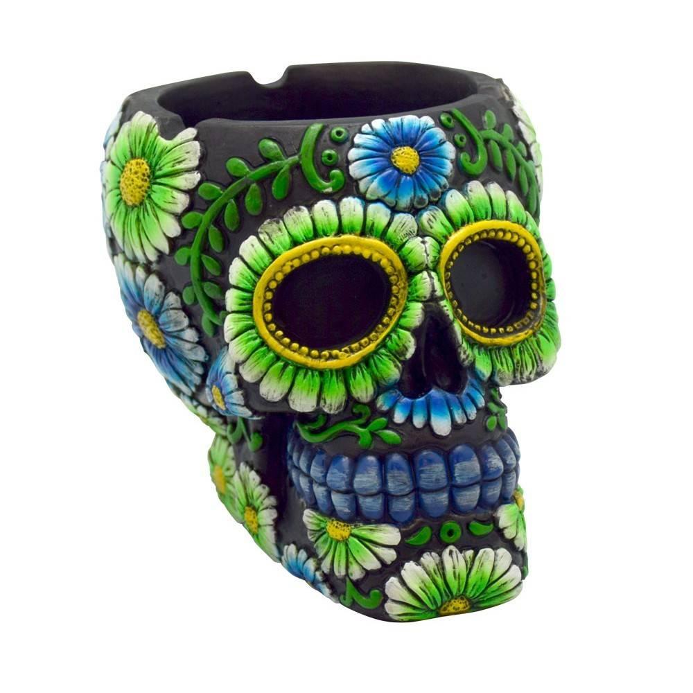 "Sugar Skull Ashtray 4"" Black/Green"