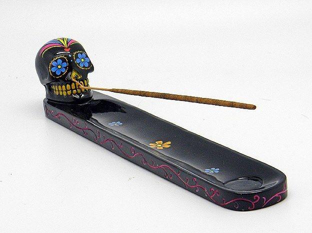 Black Sugar Skull Incense Holder