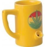 Ceramic Mug Pipe 8oz Yellow Hemp Leaf Short