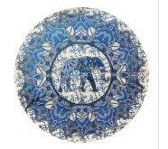 THREADHEADS Elephant Flower Round Tapestry