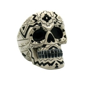 "3.5"" Blk/White Sugar Skull Ashtray"