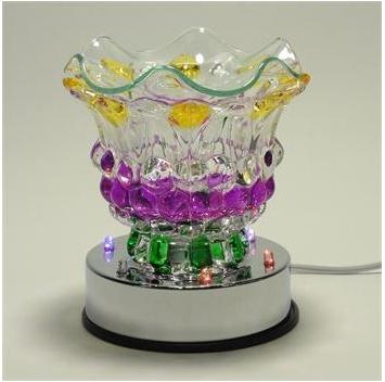 Mardi Gras Colored Oil Lamp