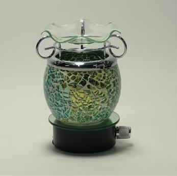 Green Crackle Wall Plug Oil Lamp