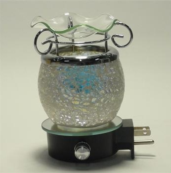 Blue Crackle Wall Plug Oil Lamp