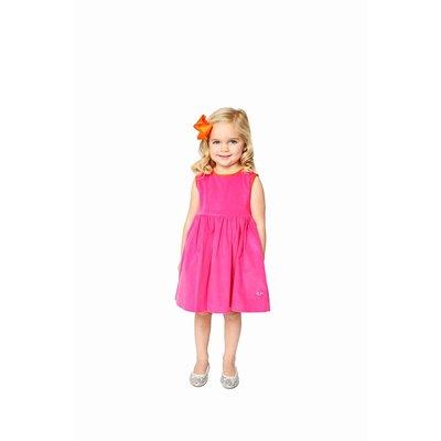 Smiling Button Pink Orange Corduroy Pinny
