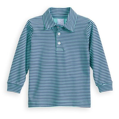 Bella Bliss Striped Polo Navy & Turquoise