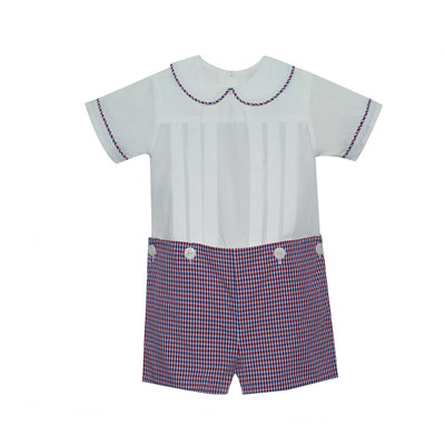 Lullaby Set Red & Navy Plaid Button-On