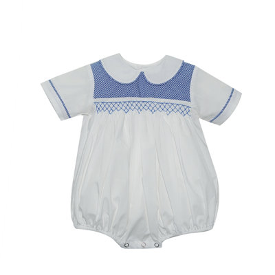 Lullaby Set Royal Blue Gingham Smock Bubble