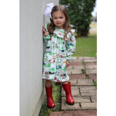 LeZaMe Inga Farm Life Ruffle Dress