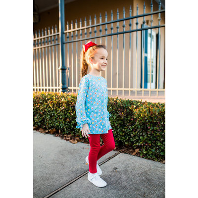 Lullaby Set Knit Floral Top & Red Leggings