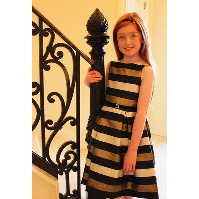 Susanne Lively Gold Stripe Pleat Dress
