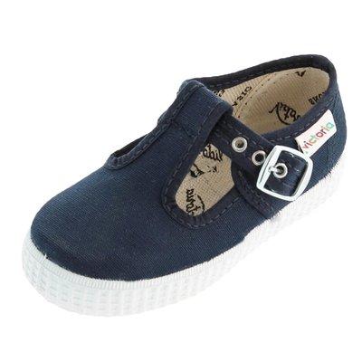 Victoria Shoe Navy T-Strap Buckle