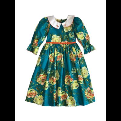 LeZaMe Natalie Dress Teal Flora