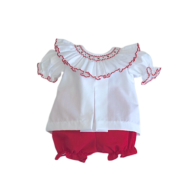 Lulu Bebe Ally Red Smock Bloomer Set