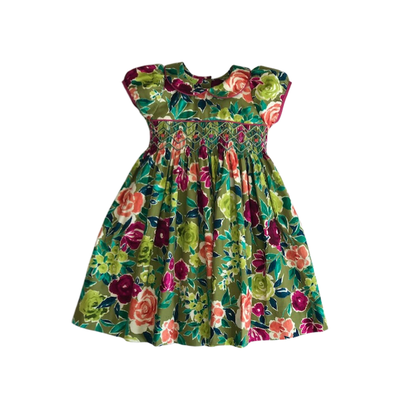 LeZaMe Nel Empire Avocado Floral Dress