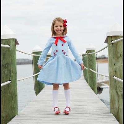 Nantucket Kids Skipper Dress Baby Blue Red