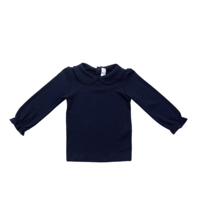 Nantucket Kids Ruffled Pima Peter Pan Shirt Navy