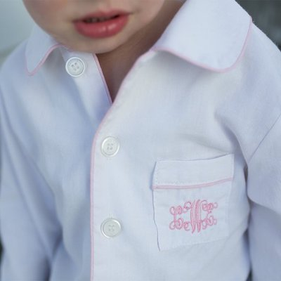Petite Plume Classic Pajamas White & Pink