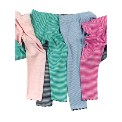 Peggy Green Scallop Leggings Pink Stripe