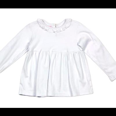 Peggy Green Long Sleeve Pima Ruffle White
