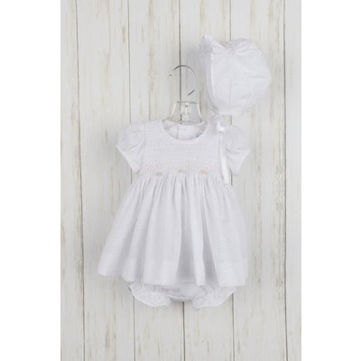 Luli & Me White Plumeti Dress 3pc