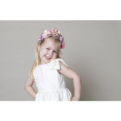 Maria Casero Jacquard Bow Dress Ivory