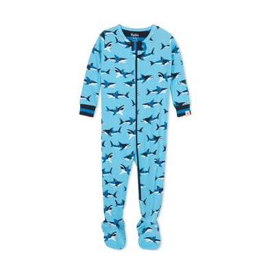 Hatley Great White Sharks Footed PJs