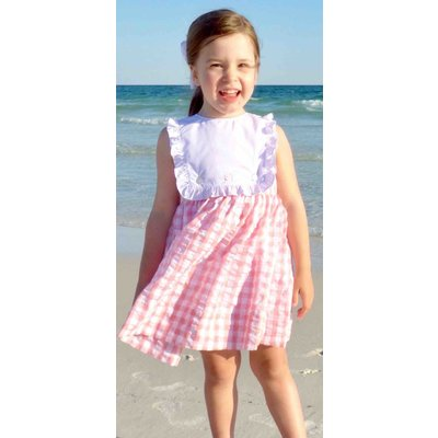 The Yellow Lamb Ansley Dress Coral Gingham