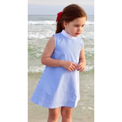 The Yellow Lamb Ada Ruffle Blue Gingham Dress