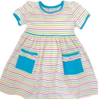 Squiggles Aqua Pocket Stripe Dress