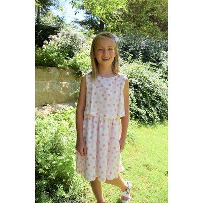 Maggie Breen Peachy Dots Flounce Dress