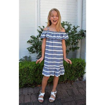 Maggie Breen Bl/Pk Stripe Ruffle Dress