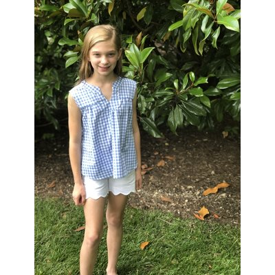 Peggy Green Evy Top Periwinkle Gingham