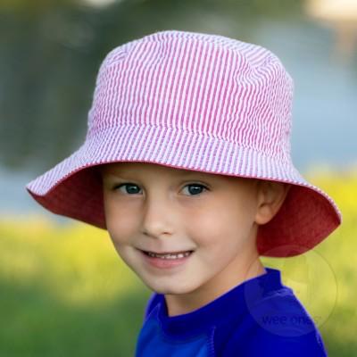 Wee Ones Reversible Red Seersucker Hat