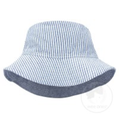Wee Ones Reversible Blue Seersucker Hat