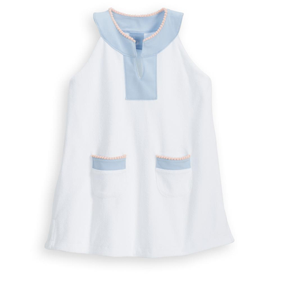 Bella Bliss White & Blue Terry Cover Up