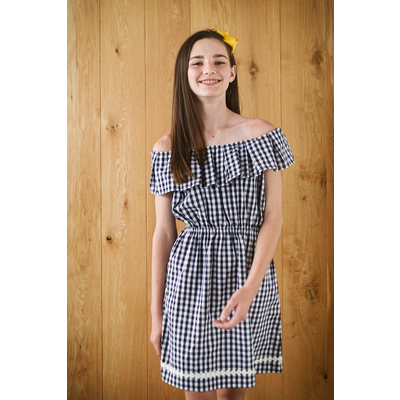 Busy Bees Presley Dress Navy Gingham