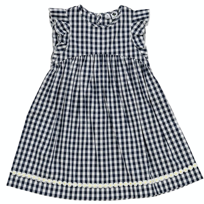 Busy Bees Zoe Dress Navy Gingham