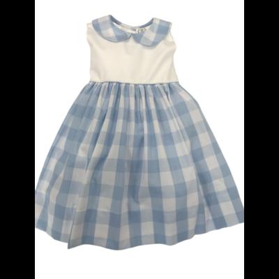 Lulu Bebe Rose Light Blue Buffalo Check Dress